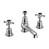 Burlington Claremont Black 3TH Basin Mixer with Pop-up Waste profile small image view 1