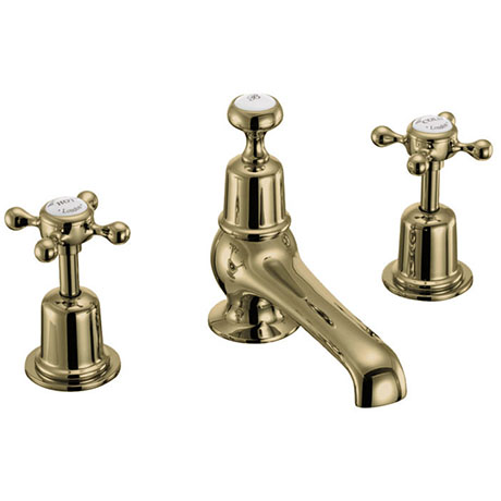 Burlington Gold Claremont 3TH Basin Mixer with Pop-up Waste
