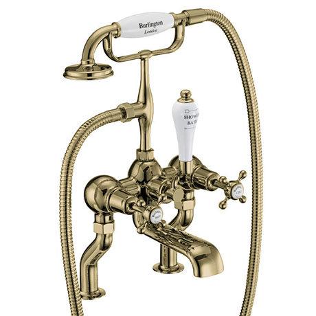 Burlington Gold Claremont Deck Mounted Bath Shower Mixer
