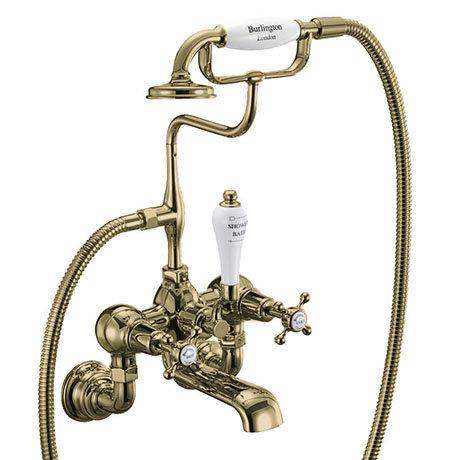 Burlington Gold Claremont Wall Mounted Bath Shower Mixer