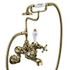 Burlington Gold Claremont Wall Mounted Bath Shower Mixer profile small image view 1