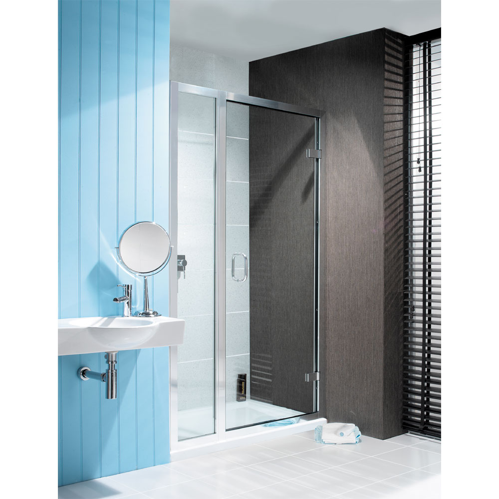 Simpsons - Classic Hinged Shower Door with Inline Panel - 3 Size Options Large Image
