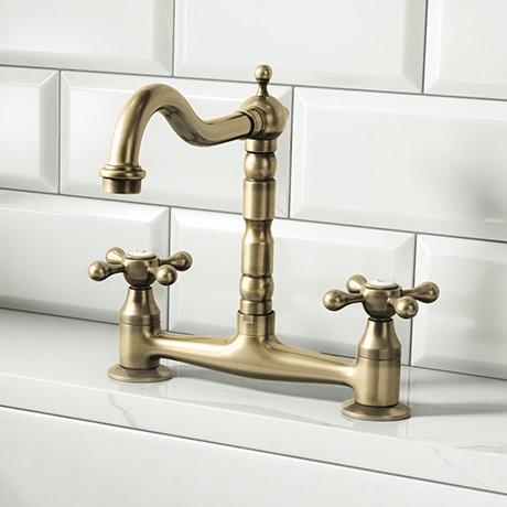 Britannia Classic Bridge Sink Mixer - Antique Bronze
