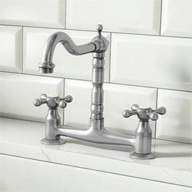 Britannia Classic Bridge Sink Mixer - Brushed Nickel