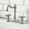 Britannia Classic Bridge Sink Mixer - Brushed Nickel profile small image view 1