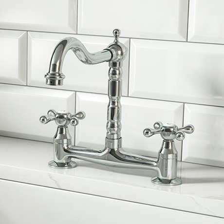 Britannia Classic Bridge Sink Mixer - Chrome