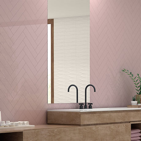 Coleford Rose Pink Chevron Effect Wall Tiles - 300 x 75mm