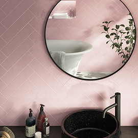 Coleford Dusky Pink Chevron Effect Wall Tiles - 300 x 75mm
