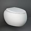 RAK Cloud Rimless Wall Hung Pan + Soft Close Seat - Matt White profile small image view 1