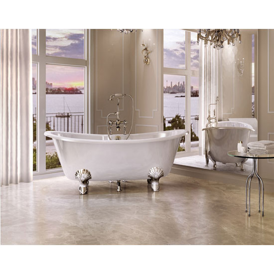 Clearwater - Battello Natural Stone Bath with Classic Chrome Feet - 1690 x 800mm - N10-L3C profile large image view 3