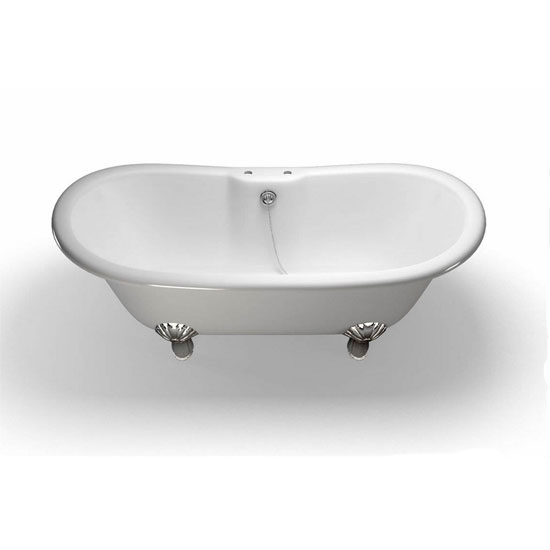 Clearwater - Battello Natural Stone Bath with Classic Chrome Feet - 1690 x 800mm - N10-L3C profile large image view 1