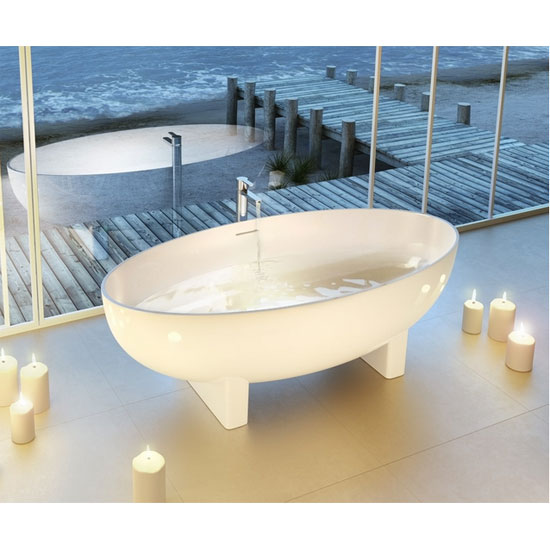 Clearwater - Lacrima Natural Stone Bath - 1690 x 800mm - N12 Feature Large Image
