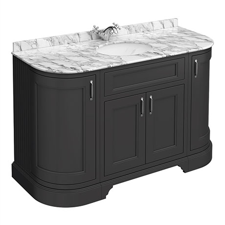 Chatsworth Graphite 1335mm Curved Vanity Unit with White Marble Basin Top