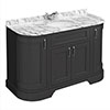 Chatsworth Graphite 1335mm Curved Vanity Unit with White Marble Basin Top profile small image view 1