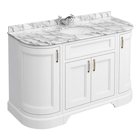 Chatsworth White 1335mm Curved Vanity Unit with White Marble Basin Top