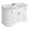 Chatsworth White 1335mm Curved Vanity Unit with White Marble Basin Top profile small image view 1
