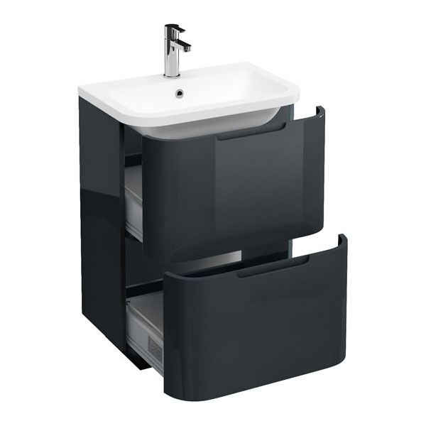 Aqua Cabinets Compact 600mm Two Drawer Vanity Unit with Quattrocast Basin - Black Large Image