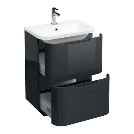 Aqua Cabinets Compact 600mm Two Drawer Vanity Unit with Quattrocast Basin - Black
