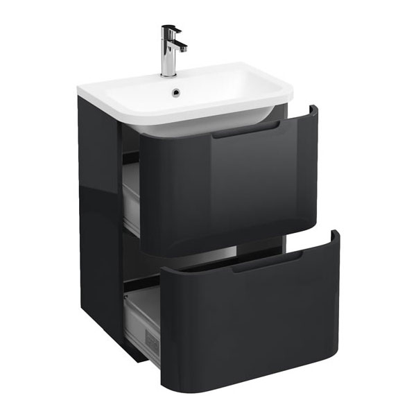 Aqua Cabinets Compact 600mm Two Drawer Vanity Unit with Quattrocast Basin - Anthracite Grey Large Image