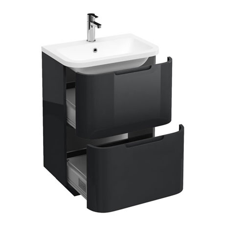 Aqua Cabinets Compact 600mm Two Drawer Vanity Unit with Quattrocast Basin - Anthracite Grey