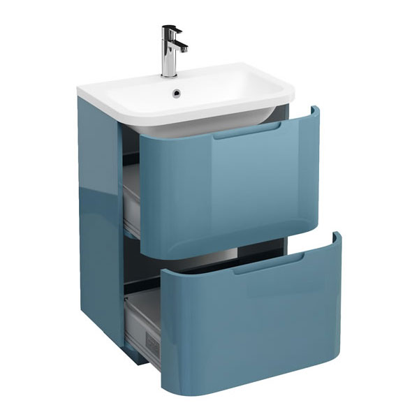 Aqua Cabinets Compact 600mm Two Drawer Vanity Unit with Quattrocast Basin - Ocean Large Image