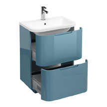 Aqua Cabinets Compact 600mm Two Drawer Vanity Unit with Quattrocast Basin - Ocean Medium Image