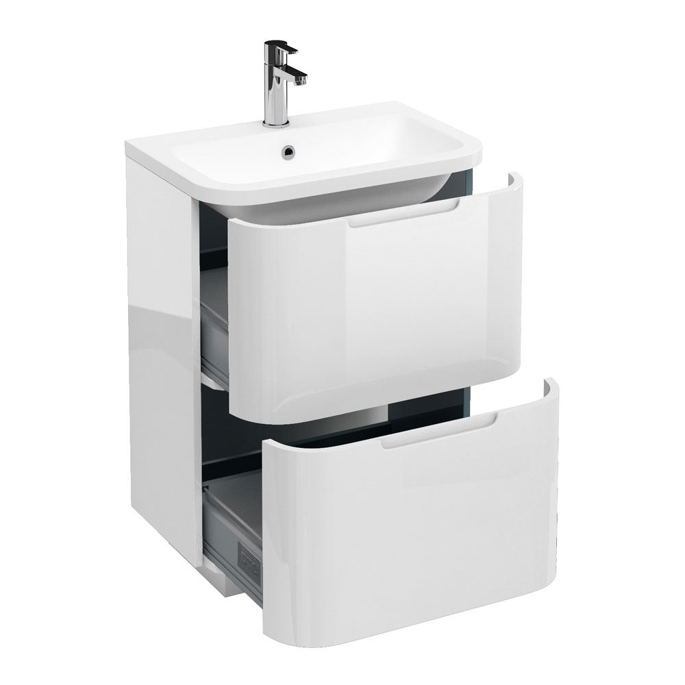 Aqua Cabinets Compact 600mm Two Drawer Vanity Unit with Quattrocast Basin - White Large Image