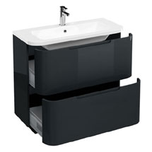 Aqua Cabinets Compact 900mm Two Drawer Vanity Unit with Quattrocast Basin - Black Medium Image