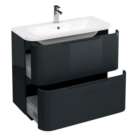 Aqua Cabinets Compact 900mm Two Drawer Vanity Unit with Quattrocast Basin - Black