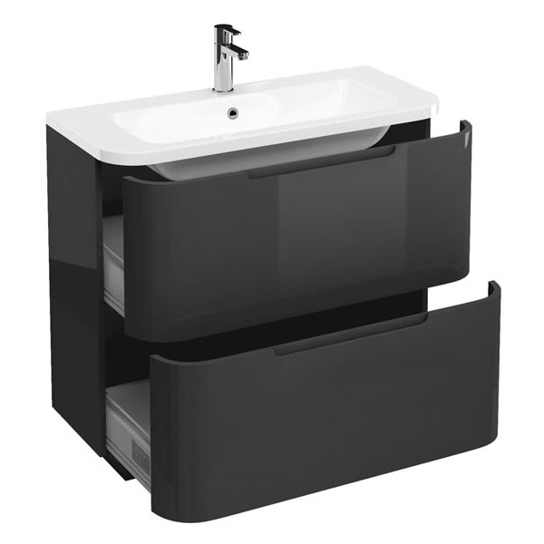 Aqua Cabinets Compact 900mm Two Drawer Vanity Unit with Quattrocast Basin - Anthracite Grey Large Image