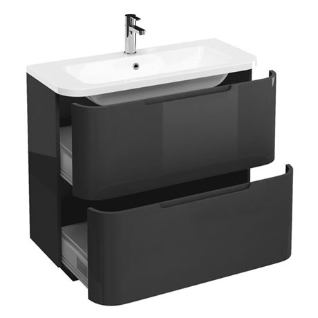 Aqua Cabinets Compact 900mm Two Drawer Vanity Unit with Quattrocast Basin - Anthracite Grey