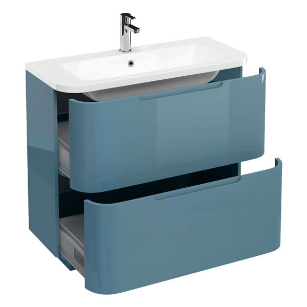Aqua Cabinets Compact 900mm Two Drawer Vanity Unit with Quattrocast Basin - Ocean Large Image
