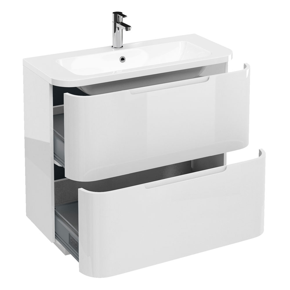 Aqua Cabinets Compact 900mm Two Drawer Vanity Unit with Quattrocast Basin - White Large Image