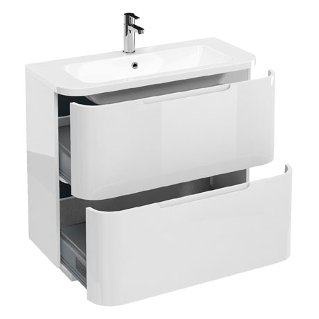 Aqua Cabinets Compact 900mm Two Drawer Vanity Unit with Quattrocast Basin - White