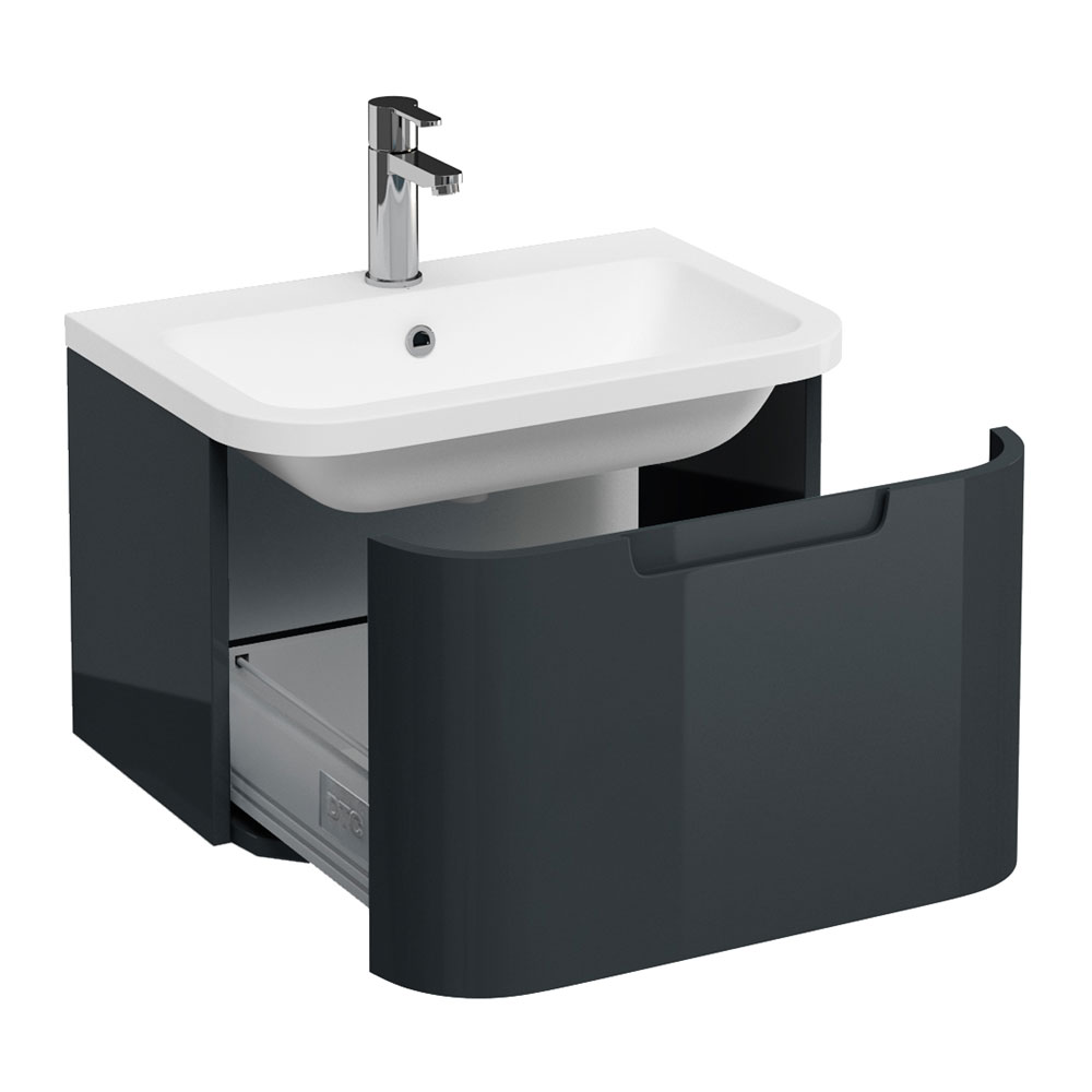 Aqua Cabinets Compact 600mm Wall Hung Vanity Unit with Quattrocast Basin - Black Large Image