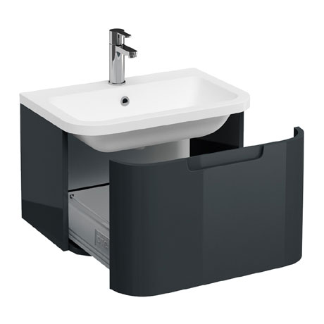 Aqua Cabinets Compact 600mm Wall Hung Vanity Unit with Quattrocast Basin - Black