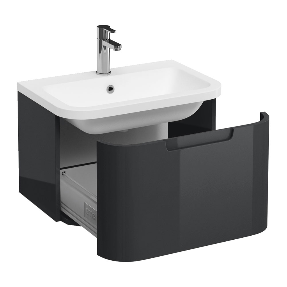 Aqua Cabinets Compact 600mm Wall Hung Vanity Unit with Quattrocast Basin - Anthracite Grey Large Image