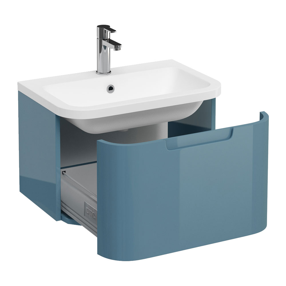 Aqua Cabinets Compact 600mm Wall Hung Vanity Unit with Quattrocast Basin - Ocean Large Image