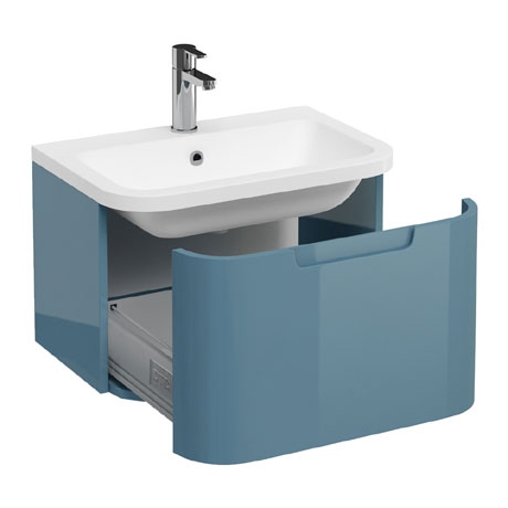 Aqua Cabinets Compact 600mm Wall Hung Vanity Unit with Quattrocast Basin - Ocean