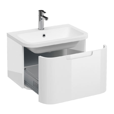Aqua Cabinets Compact 600mm Wall Hung Vanity Unit with Quattrocast Basin - White