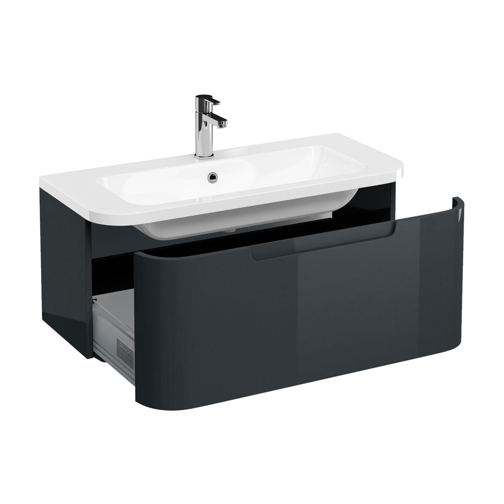 Aqua Cabinets Compact 900mm Wall Hung Vanity Unit with Quattrocast Basin - Black Large Image