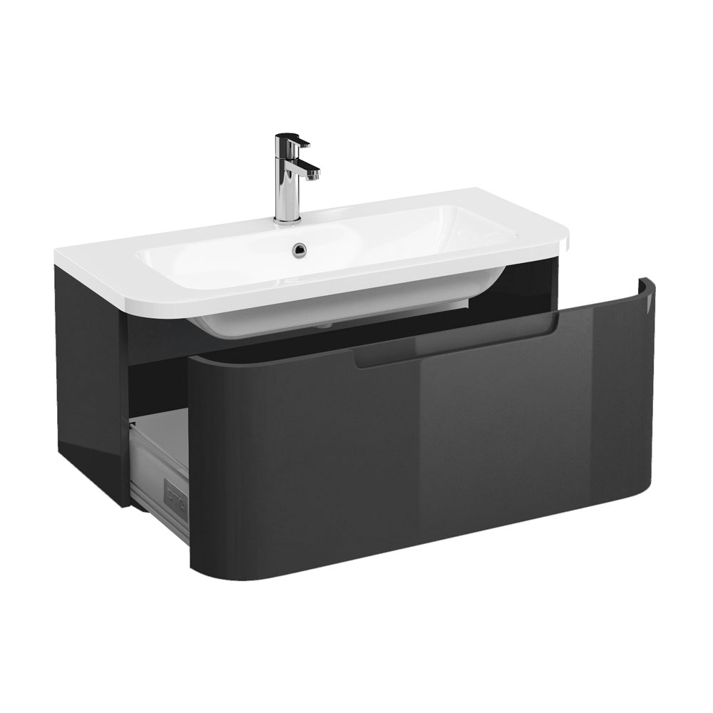Aqua Cabinets Compact 900mm Wall Hung Vanity Unit with Quattrocast Basin - Anthracite Grey Large Image