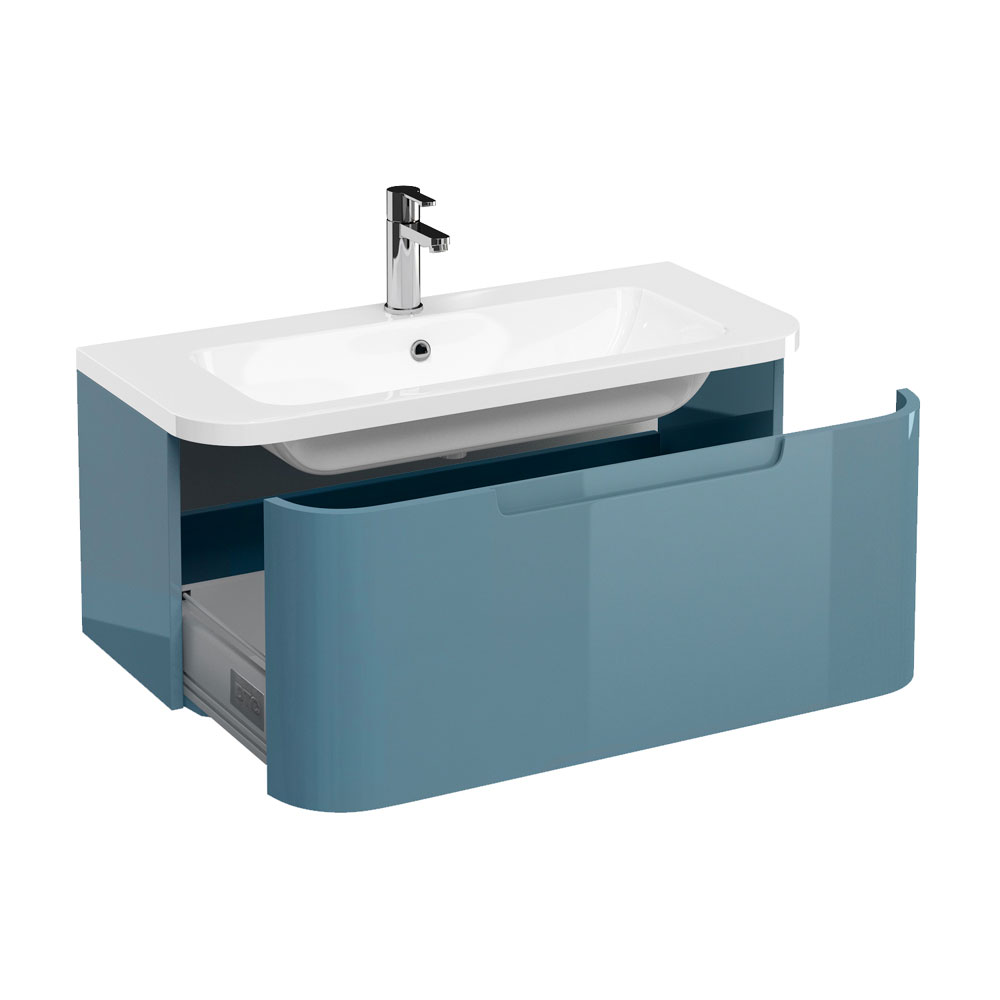 Aqua Cabinets Compact 900mm Wall Hung Vanity Unit with Quattrocast Basin - Ocean profile large image view 1
