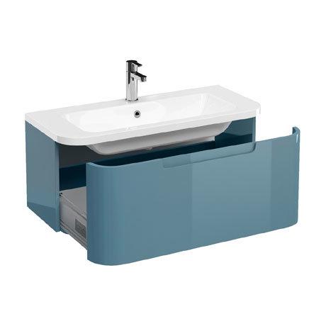 Aqua Cabinets Compact 900mm Wall Hung Vanity Unit with Quattrocast Basin - Ocean
