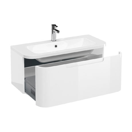 Aqua Cabinets Compact 900mm Wall Hung Vanity Unit with Quattrocast Basin - White