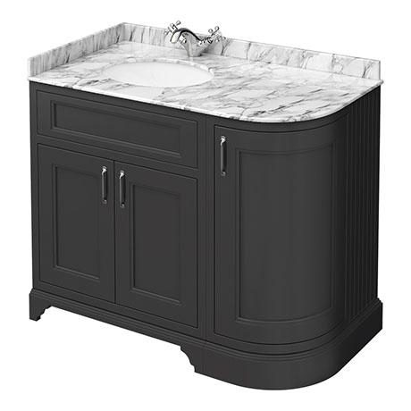 Chatsworth Graphite RH 1005mm Curved Corner Vanity Unit with White Marble Basin Top