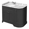 Chatsworth Graphite RH 1005mm Curved Corner Vanity Unit with White Marble Basin Top profile small image view 1
