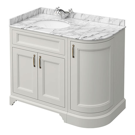 Chatsworth Grey RH 1005mm Curved Corner Vanity Unit with White Marble Basin Top