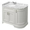 Chatsworth Grey RH 1005mm Curved Corner Vanity Unit with White Marble Basin Top Small Image