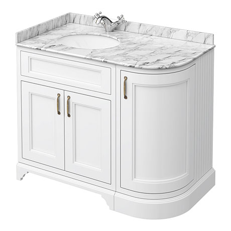 Chatsworth White RH 1005mm Curved Corner Vanity Unit with White Marble Basin Top
